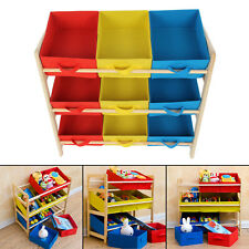 Childrens Toy Storage Unit Kids Shelf 3 Tier 9 Canvas Drawer Baskets Nursery New