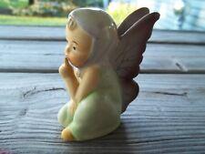 "Vtg Maruri Japan Porcelain Green/Purple Winged Pixie Angel Shushing 3.25"""