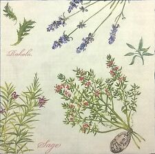 4 Single Paper Table Napkins for Decoupage Herb Garden Herbs