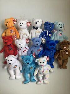 Ty Beanie Babies Bear Bundle Rare Retired Celebration Unity England Wales Mrs Mr