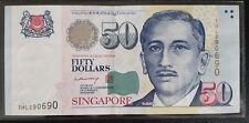 Singapore $50 Paper Potrait Banknote LHL First Prefix 1HL 290690 Rare