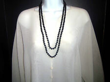 Vintage  Long 60 inch Black Glass  Rope Flapper Necklace Estate Jewelry Heavy