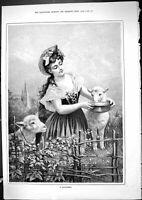 Original Old Antique Print 1881 Beautiful Young Girl Feeding Lambs Sheep Nature
