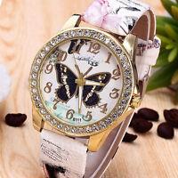 New Fashion Women Diamond Dial PU Butterfly Bracelet Quartz Crystal Wrist Watch