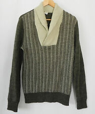 Rasica Sweater Wool Blend Shawl Collared Army Green/Beige Size S/M