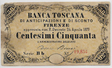 50 centesimi BANCA TOSCANA anticipazione e sconto Firenze 24/04/1870 - BB (BN12)