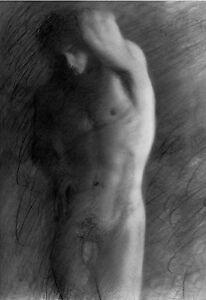 Drawing NUDE male SOLOMON, Classic 2/18/50 Esteban Pencil Graphite FREE SHIP
