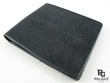 PELGIO Real Genuine Stingray Shagreen Skin Leather Men's Bifold Wallet All Black