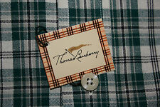 Thomas BURBERRY uomo a maniche lunghe Check verde Colletto Con Bottoni Taglia Media