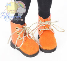 "Orange Faux Pony Hair/Patent Leather Boots Shoes for Yo-SD Dollfie/12"" Kish doll"