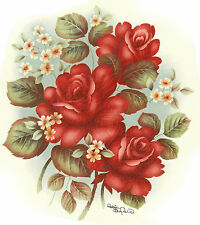 Ceramic Decals Red Roses White Floral Flowers