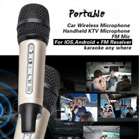 Wireless FM Stereo Microphone Adjustable Reverberation For Car Enjoy KTV Golden