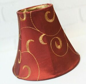 Silk Chinese Red & Gold Swirl Clip On Bell Lamp Shade Chandelier