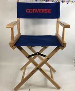 """Converse Directors Chair Wood Blue Back Folds Up 34"""" Tall Advertising Man Cave"""