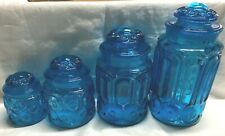 4 LE Smith Moon and Star Colonial Blue Canister Set with Lids - Great Condition!