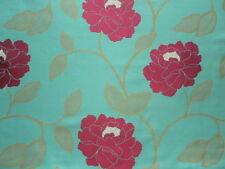 Harlequin Curtain Fabric KIKU 3.6m Fuchsia/Aqua Silk Mix Floral Weave Design