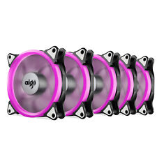 Pack of 5 Aigo 120mm 12cm Halo Ring Neon PINK LED Computer PC Case Cooling Fan