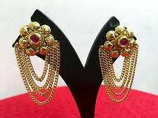 Indian Bollywood Style Fashion Gold Tone Jewelry Necklace Earrings Set