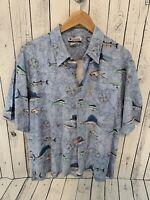 COLUMBIA Men's Marlin Sailfish Short Sleeve Button Front Shirt Blue Size MED O1
