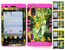 Hybrid Silicone Cover Case for LG Optimus Extreme L40g / L5 - Camo Mossy 04