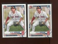 Lot of (2) BLAZE JORDAN 2021 Bowman Paper Prospects Red Sox Rookie Card RC - A