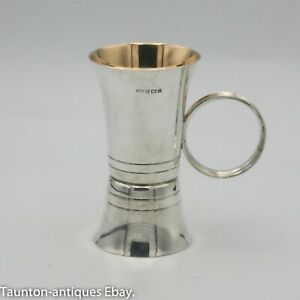 Solid silver hallmarked gold gilded spirit jigger cocktail drinks measure double
