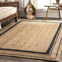 Rug Jute Natural  100% Jute Braided Style Rug Reversible Modern Rustic Look