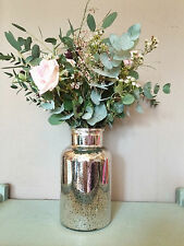 Mercury Glass Silver Flower Vase, Vintage Wedding Decoration, Gisela Graham