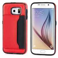 SAMSUNG GALAXY S6 RED LEATHER CASE LUXURY WALLET COVER CREDIT CARD ID SLOT STAND