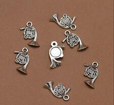 25pcs Retro Antique Silver French Horn Bugle Alloy Speaker Charm Pendant Jewelry