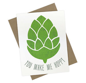 Funny You Make Me Hoppy Beer Greeting Card for Him with Adult Beer Pun Humor
