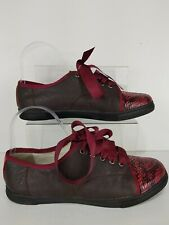 Lanvin Womens Sneakers Pumps Trainers Wine Red Ribbon Lace Size UK 6 £345