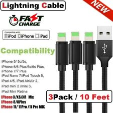 3 Pack 10FT iPhone Lightning Cable For iPhone X XS 11 iPhone 8 7 6 Charger Cord