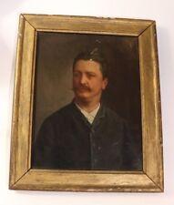 Peinture huile sur toile portrait Guy de Maupassant 1885 signé monogramme