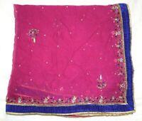 Vintage Dupatta Long Stole Chiffon Silk Pink Veil Hand Emb Beaded Tie & Dy
