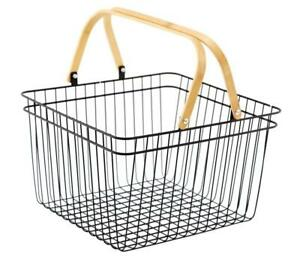 Metal Wire Shopping Storage Basket with Folding Wooden Handle