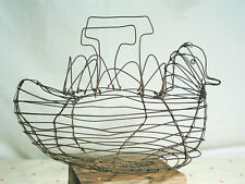 "VINTAGE PRIMITIVE COUNTRY NESTING DUCK LARGE WIRE EGG-GATHERING BASKET 13"" x 8"""
