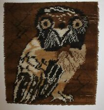 Vintage DAN RYA Wandteppich Eulenmotiv- wall carpet -Danish 79x77 cm mid century