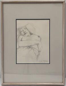 "Original Pencil Drawing by Gary Shead (1942-) ""Sleeping Nude"" Signed"