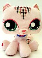 Hasbro Littlest Pet Shop LPS Pink Kitty Cat Kitten Plush Stuffed Animal Toy 2007