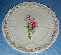 "Vintage USA Round Serving Platter Scalloped Edges 11"" The Colonial Roses And..."