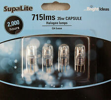 Halogen light bulb capsule 12v G4 base 35w 715lms pack of 4 by Supa