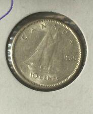CANADA  1955  10 CENT AU.ELIZABETH II SILVER DIME.