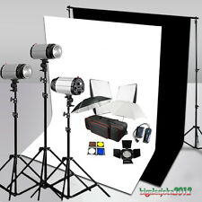 STUDIO LUCE Set 750W FLASH KIT SOFTBOX STROBE STATIVI Fondale Bianco Nero
