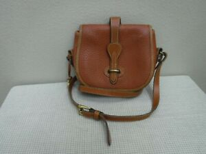Vtg DOONEY & BOURKE Brown Pebbled Leather Small Saddle Crossbody Handbag Purse