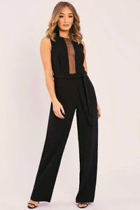 Jumpsuit Palmer Black Mesh Panel Tie Waist Wide Leg UK 12 New In The Style