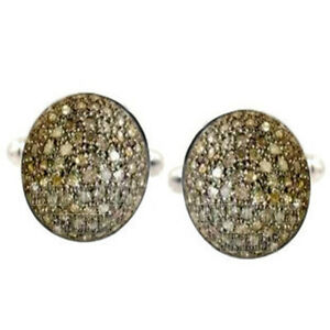 1.85cts Genuine Old Mine Rose Cut Diamond Silver Vintage Men's Cufflinks Jewelry