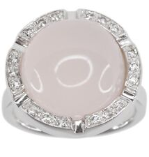 Rose Quartz 12.44 carats Gemstone Round Cabochon Sterling Silver Ring size M