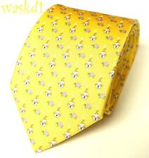SALVATORE FERRAGAMO yellow PUPPIES playing with TURTLES silk MENS tie NWT Authen