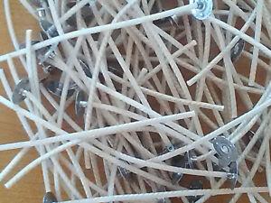 Lot de 10 mèches pour bougies, calibre 3, longueur 20cm, pré-cirées avec support